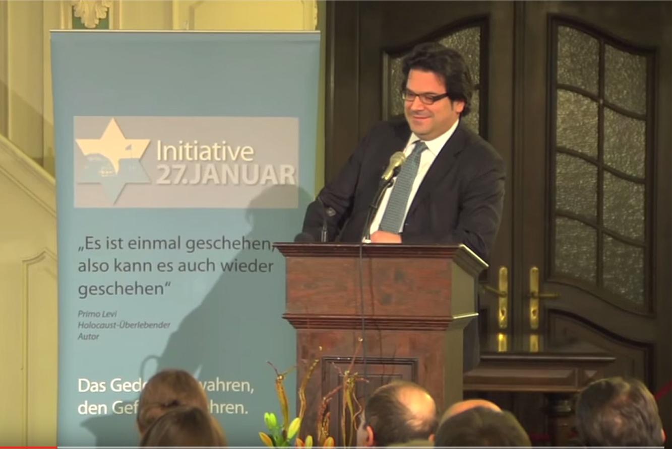 Dr. Gideon Joffe, Vorsitzender der Jüdischen Gemeinde zu Berlin, bei der Gedenkveranstaltung am 22.01.2015 in der Französischen Friedrichstadtkirche in Berlin