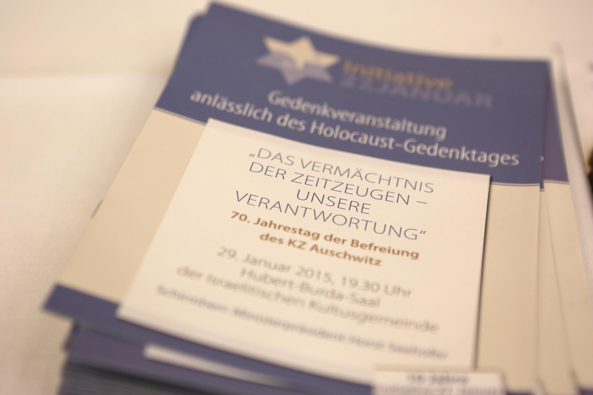 Programmheft der Gedenkveranstaltung am 29.01.2015 im Hubert-Burda-Saal der Israelitischen Kultusgemeinde in München, Foto: Sylvie Köker