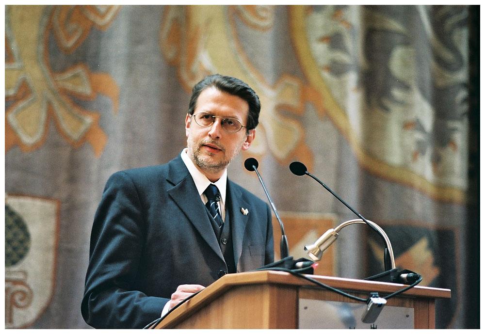 Harald Eckert, 1. Vorsitzender der Initiative 27. Januar, bei der Gedenkveranstaltung am 27.01.2007 im Senatssaal des Bayerischen Landtags